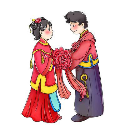 中式婚礼卡通新娘新郎