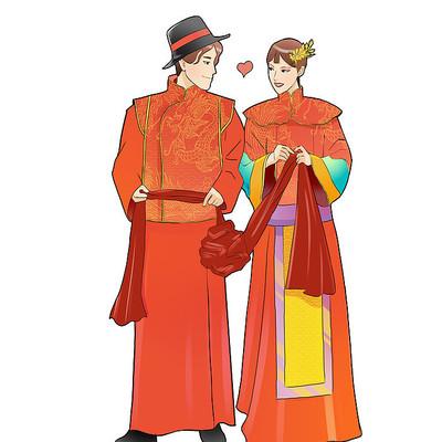 中式婚礼新郎新娘元素