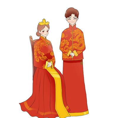中式婚礼 新郎新娘元素