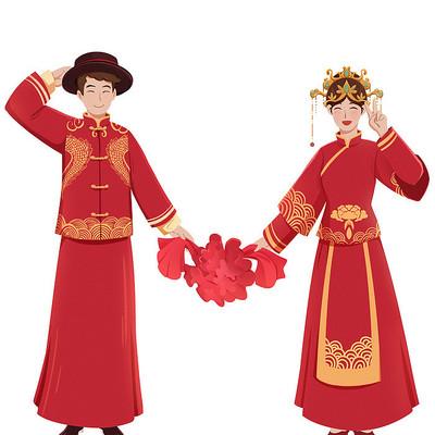 七夕520中式婚礼情侣夫妻人物素材