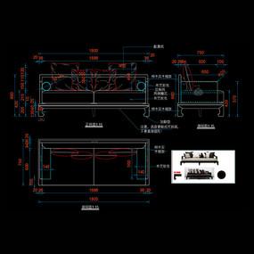 新中式沙发实木沙发CAD家具图库