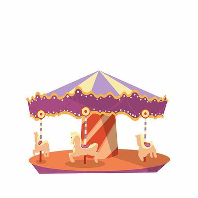 原创元素儿童节旋转木马