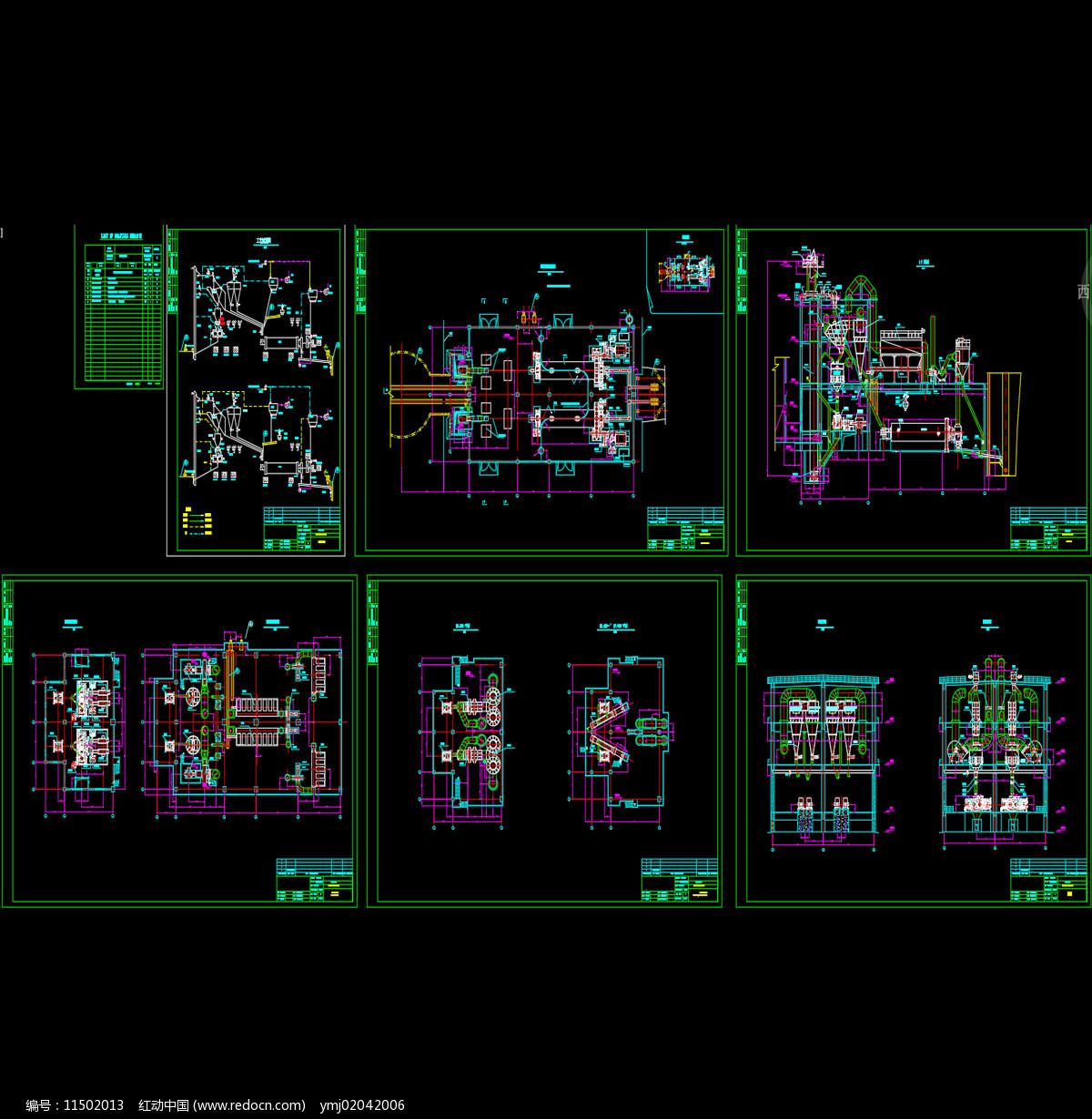 水泥粉磨站全套布置图CAD机械图纸图片