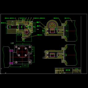 蜗轮蜗杆减速机装配图CAD机械图纸