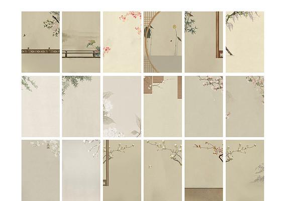 中国风婚纱儿童工笔画相册背景