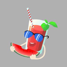 吃着西瓜的西瓜汁夏天
