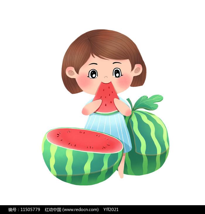 小清新女孩切西瓜吃西瓜图片