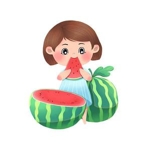 小清新女孩切西瓜吃西瓜