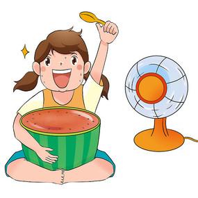 夏日吃西瓜女孩元素