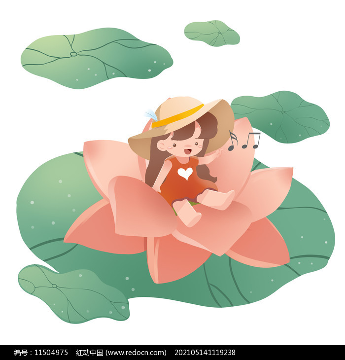 夏天荷花与女孩的元素图片