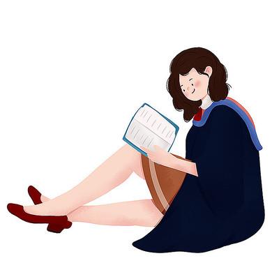 原创看书学士服学生毕业季元素