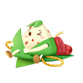 端午节卡通粽子拟人形象穿衣服素材