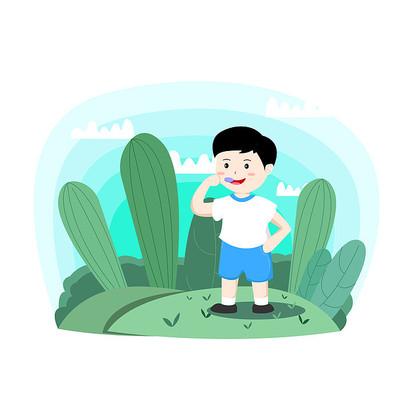 原创元素儿童节吃棒棒糖的男孩
