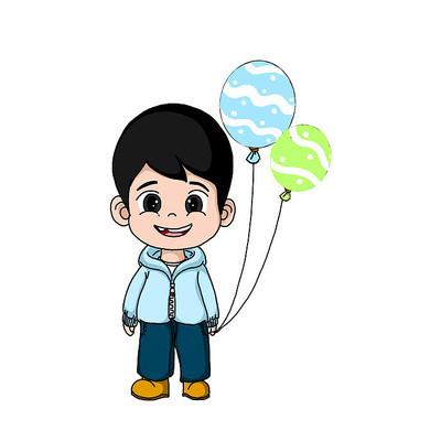 原创元素儿童节手拿气球的小男孩