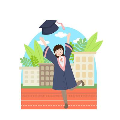 毕业季毕业生操场扔帽子插画