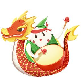 端午节可爱粽子拟人形象龙舟打鼓素材
