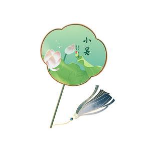 夏天小暑中国风荷花扇子元素