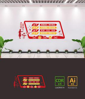 中国风一训三风校园文化墙