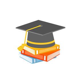 毕业季学士帽书本组合元素