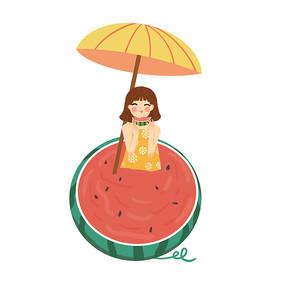 手绘卡通夏天吃西瓜人物
