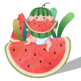 夏日啃西瓜的小孩