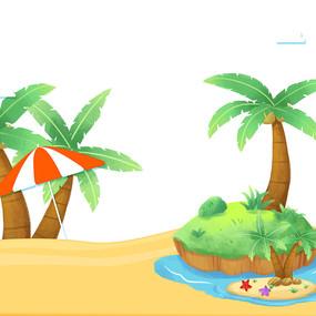 夏天海边沙滩椰子树元素