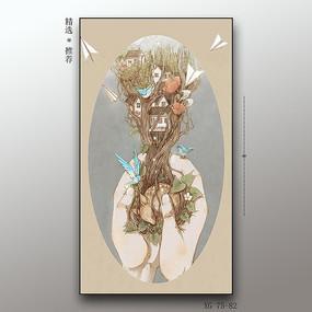 现代简约抽象艺术花卉装饰画