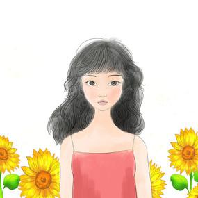 夏日水彩薄涂少女