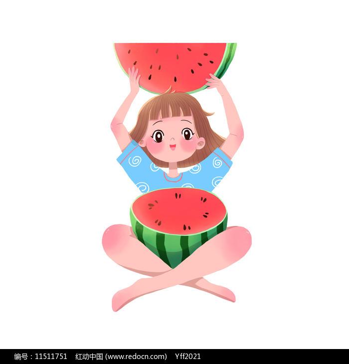 夏天女孩开心吃西瓜图图片