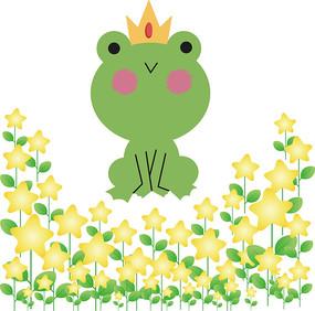 手绘青蛙王子卡通矢量图
