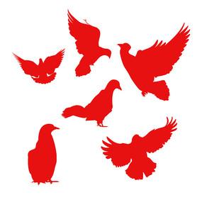 建党节红色鸽子元素