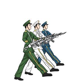 建军节军人素材卡通