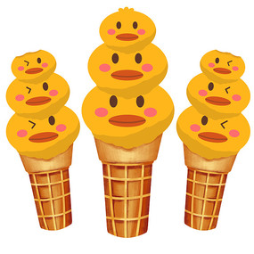 卡通鸭子冰淇淋夏天