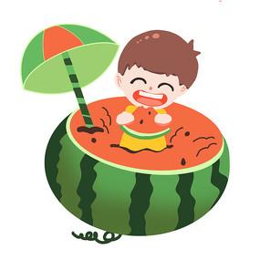 可爱卡通儿童夏天吃西瓜
