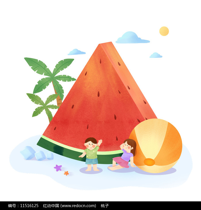 清凉夏日西瓜图片