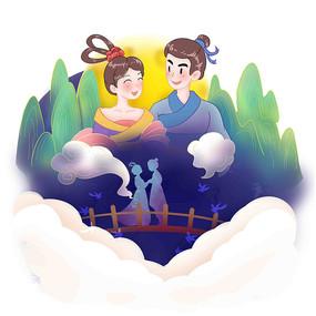 七夕情人节牛郎织女鹊桥剪影卡通情侣