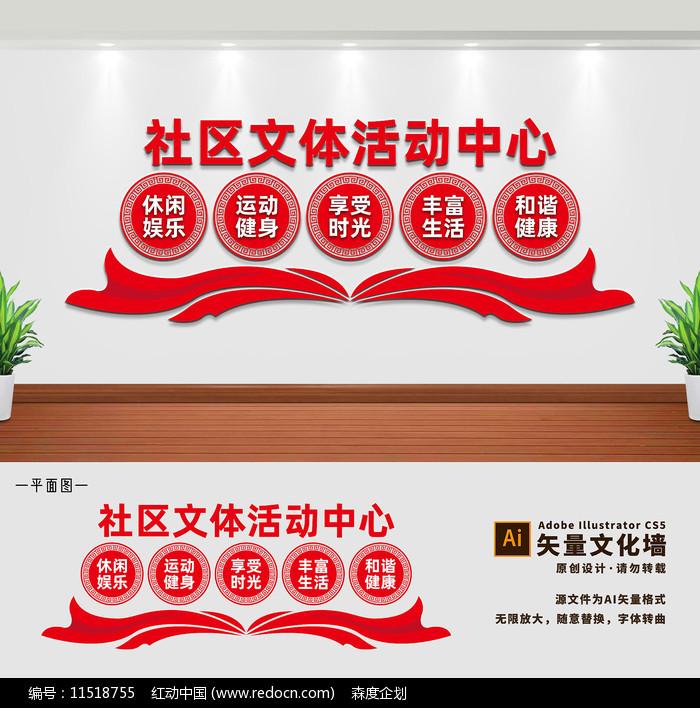 社区文体活动中心文化墙展板图片