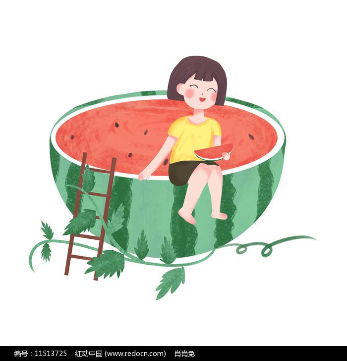 手绘卡通吃西瓜女孩夏天图片