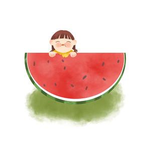 手绘卡通夏天吃西瓜女孩