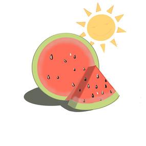 手绘卡通夏天可爱太阳西瓜