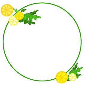 手绘柠檬水果边框素材