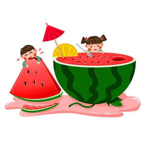 夏日吃西瓜的孩子