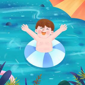 夏日男孩游泳