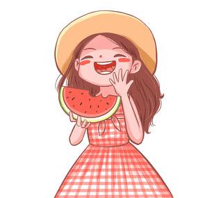 夏天吃西瓜的甜美草帽女孩
