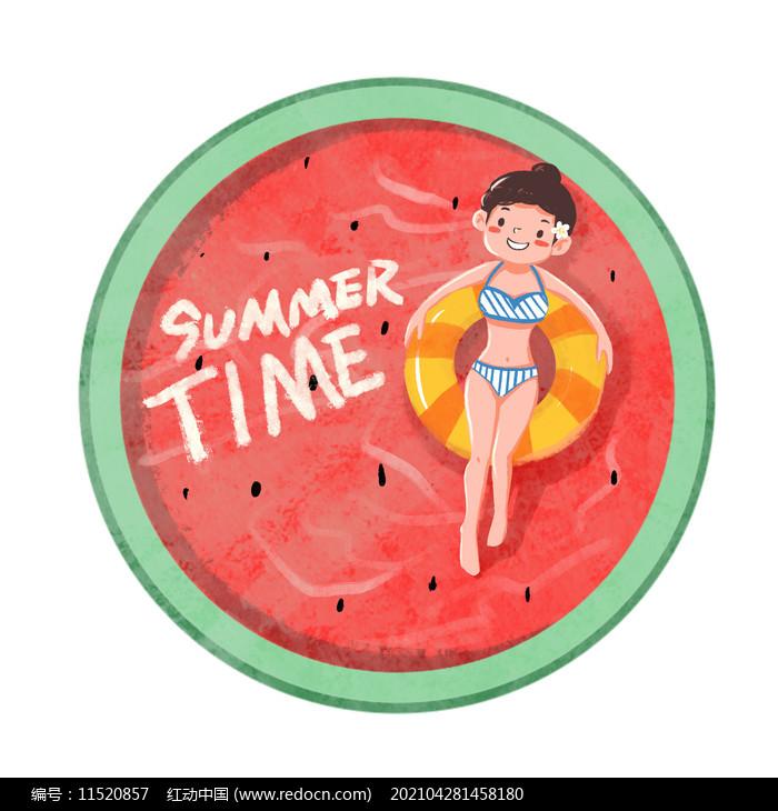 夏天卡通女孩和西瓜泳池创意组合图片