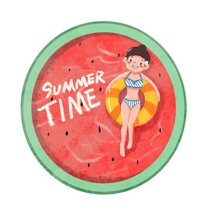 夏天卡通女孩和西瓜泳池创意组合
