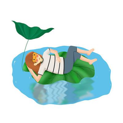 夏天躺在荷叶上的小女孩