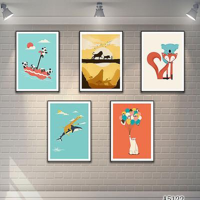 北欧卡通动物儿童房装饰画