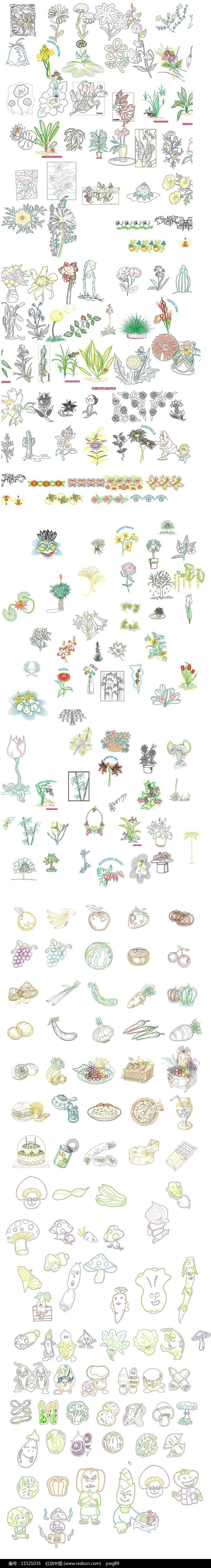 花草地卡通素材图片