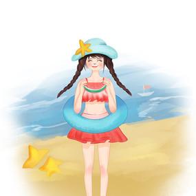 水彩风夏天的少女